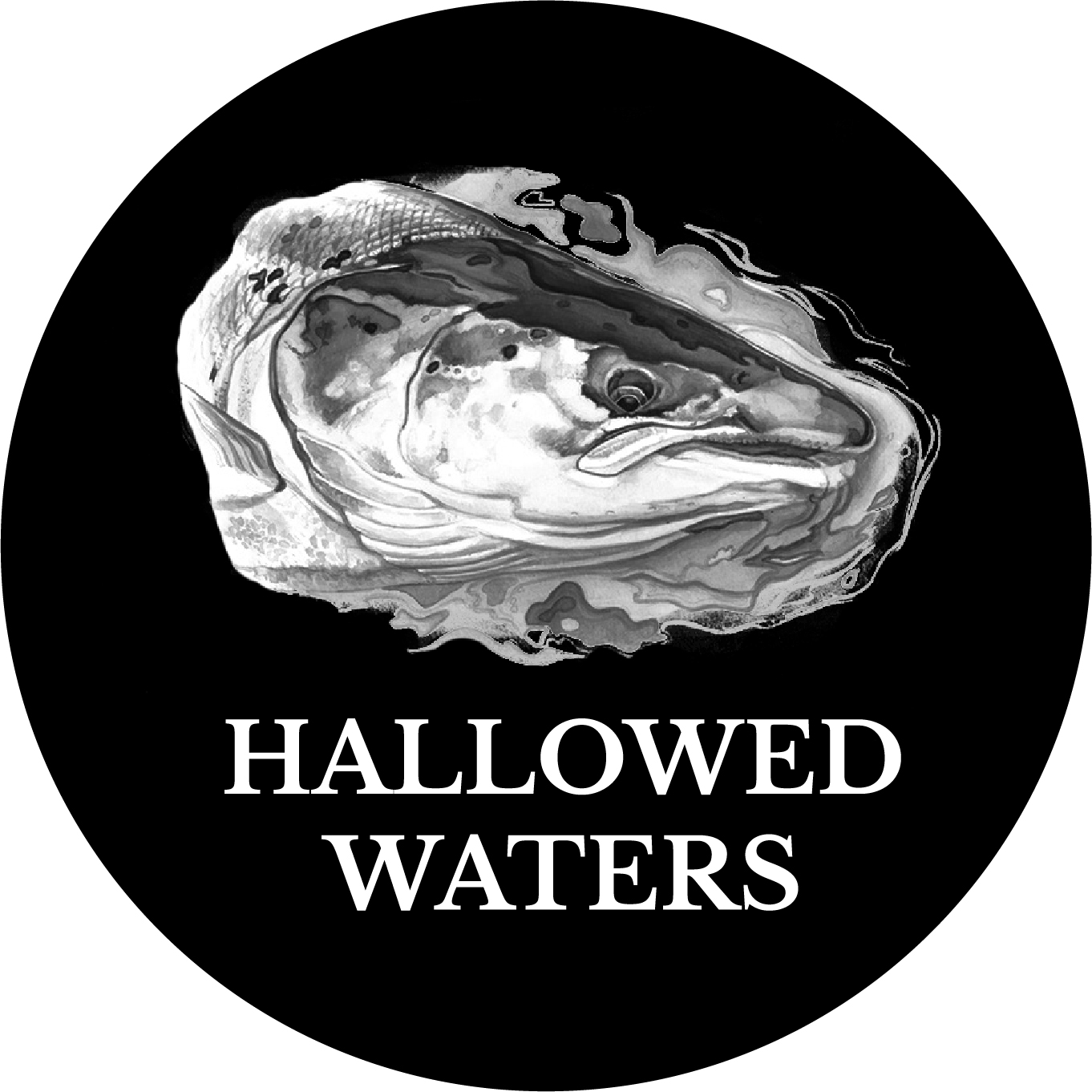Hallowed Waters white logo in circle